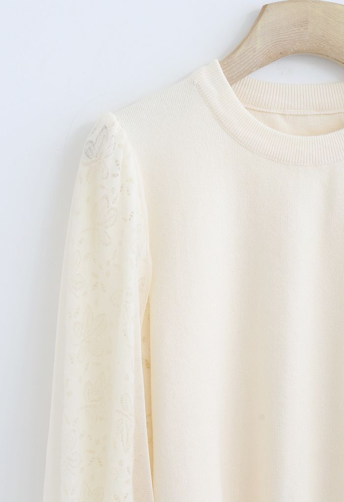 Floral Lace Mesh Sleeves Knit Top in Cream