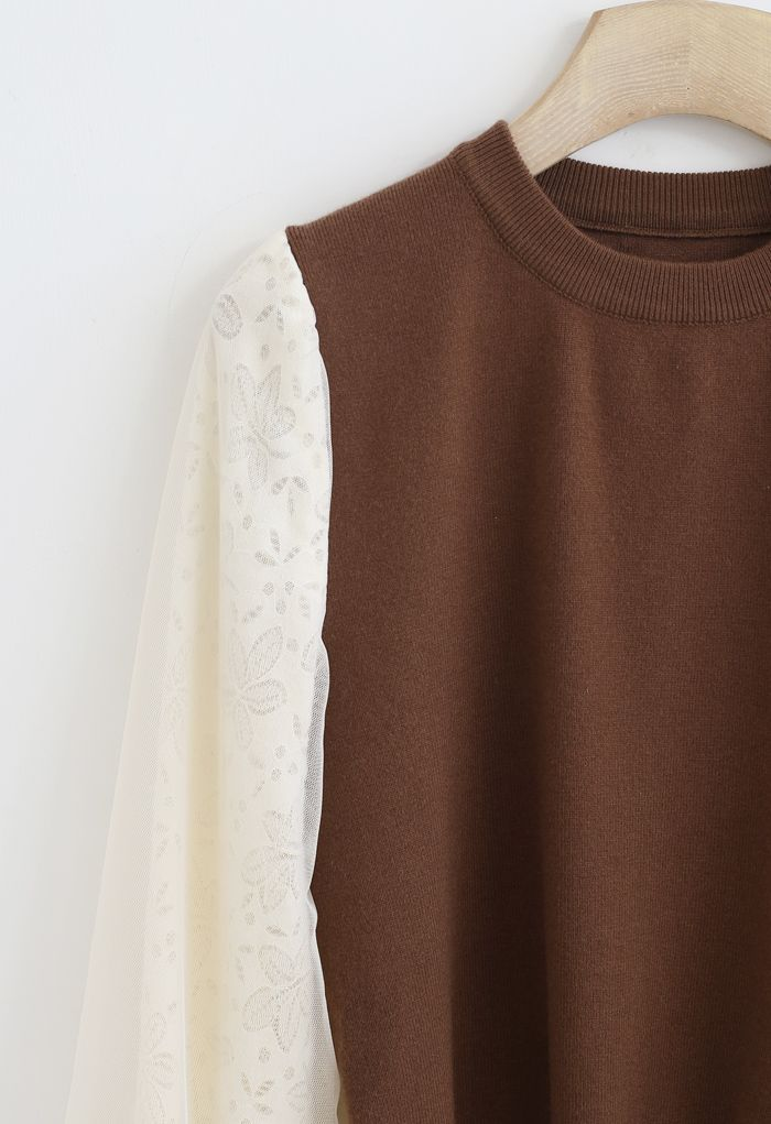 Floral Lace Mesh Sleeves Knit Top in Caramel