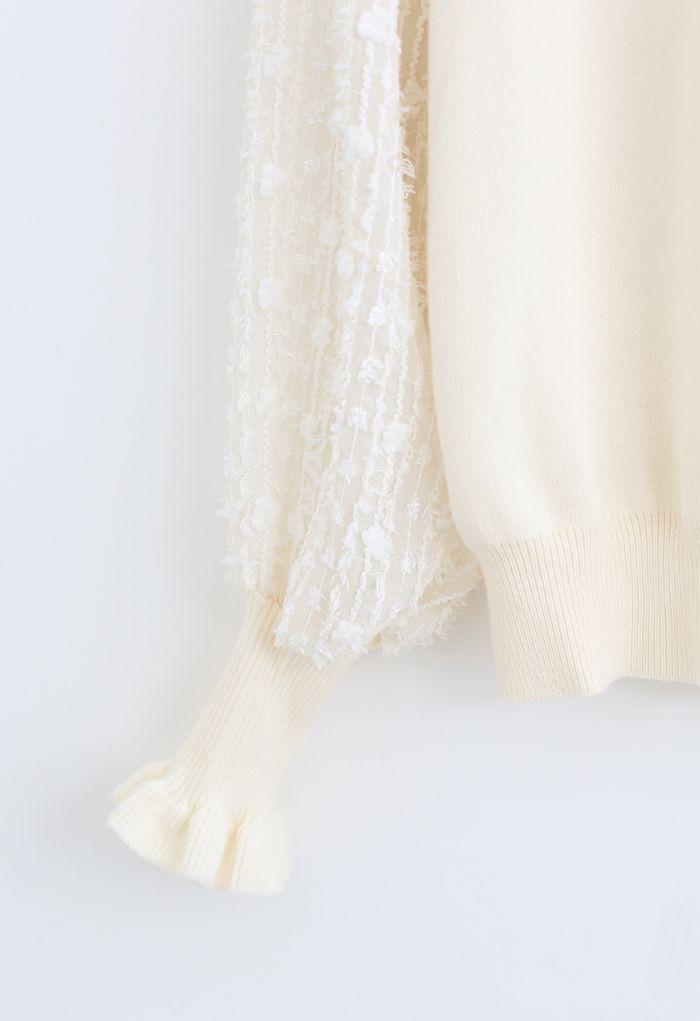Flock Tassel Sleeves Knit Top in Cream