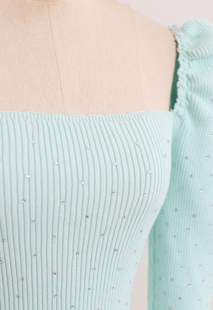 Flickering Square Neck Fitted Crop Knit Top in Mint