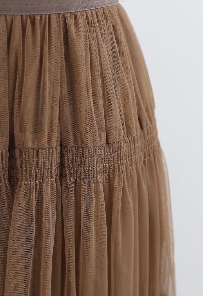 Shirred Elastic Double-Layered Mesh Skirt in Caramel