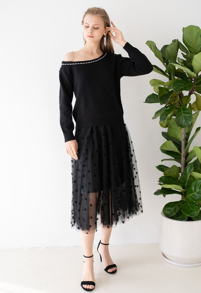 One-Shoulder Diamond Strap Knit Sweater in Black