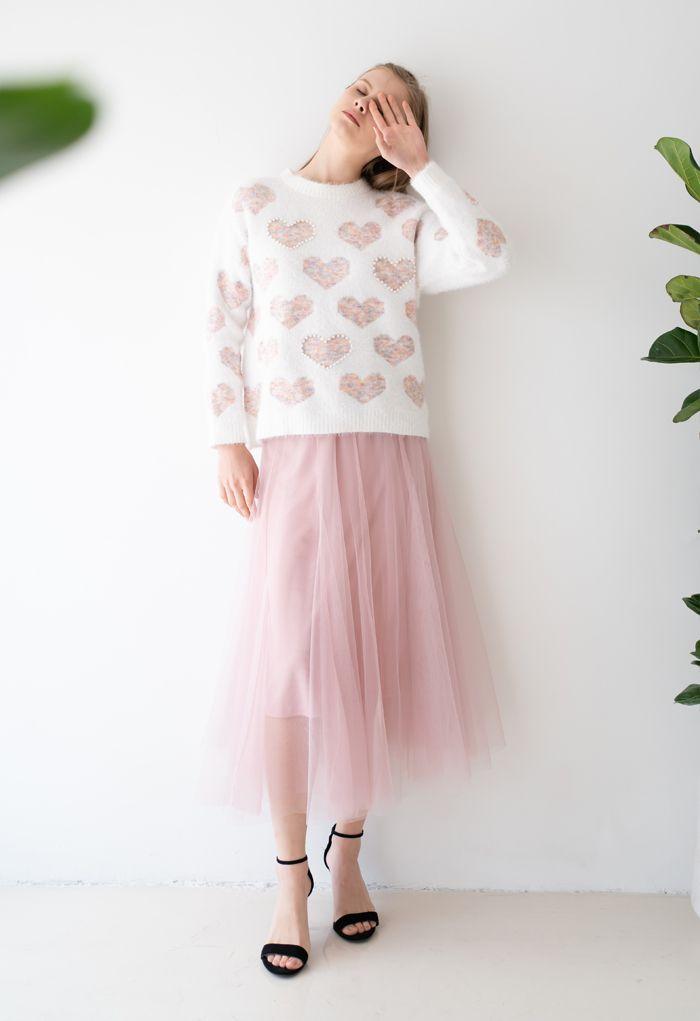 Fuzzy Pink Heart Pearl Trim Knit Sweater