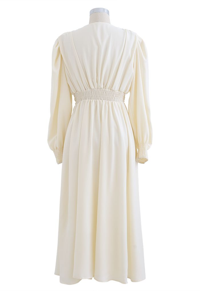 Puff Shoulder Ruched Button Down Chiffon Dress in Cream