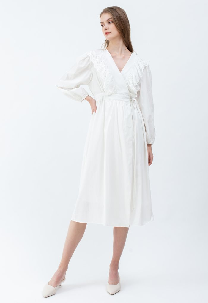 Eyelet Ruffle Front Wrap Long Sleeves Dress in White