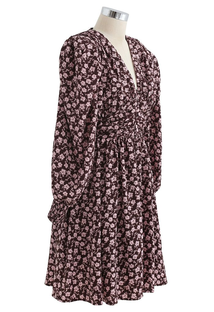 Padded Shoulder Floret Printed V-Neck Dress in Wine