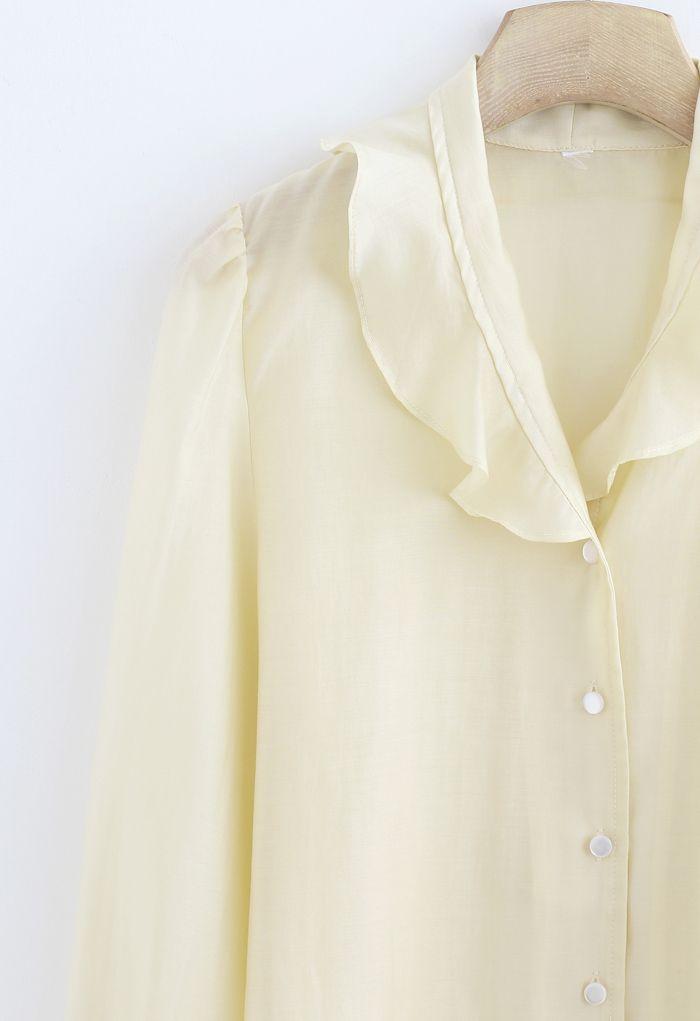 Semi-Sheer Ruffle Button Down Shirt in Cream