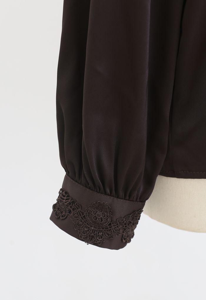 Satin Crochet Trimmed Mock Neck Top in Brown