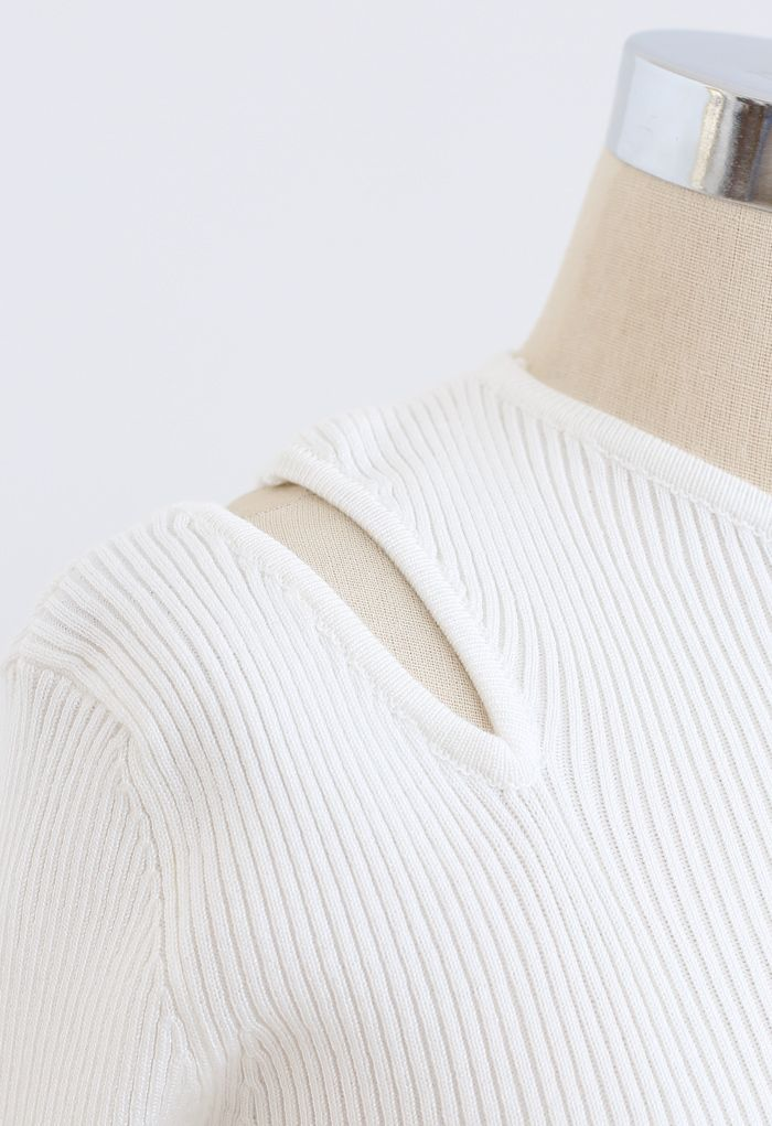Asymmetric Cut Out Cold-Shoulder Fitted Knit Top in White