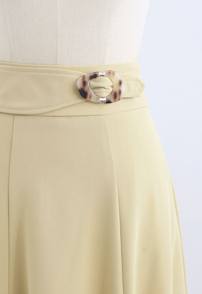 Marble Buckle Belted Flare Midi Skirt in Light Yellow