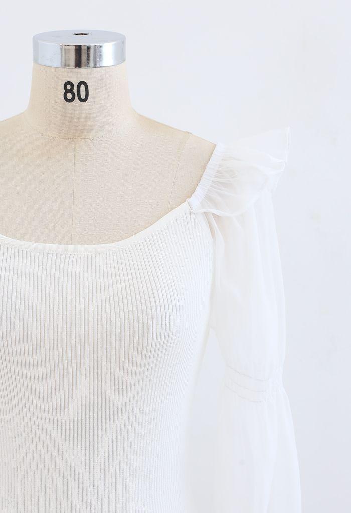 Organza Puff Sleeve Crop Knit Top in White