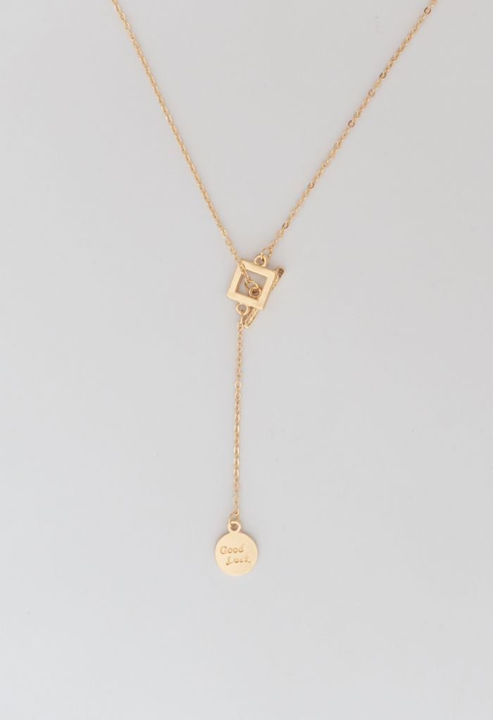 Gold Double Coins Toggle Necklace