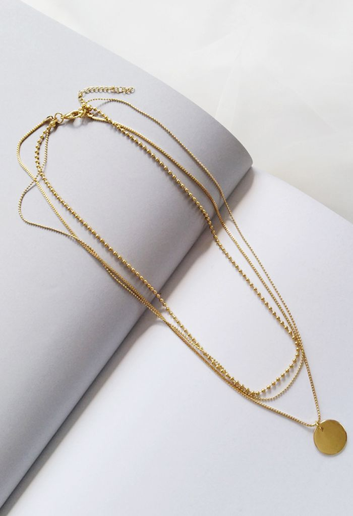 Triple-Layered Golden Coin Necklace