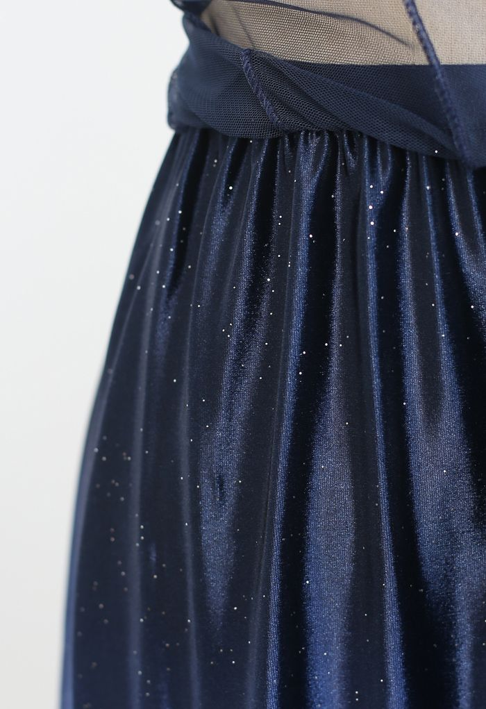 Gradient Glittery Velvet Mesh Midi Skirt in Navy