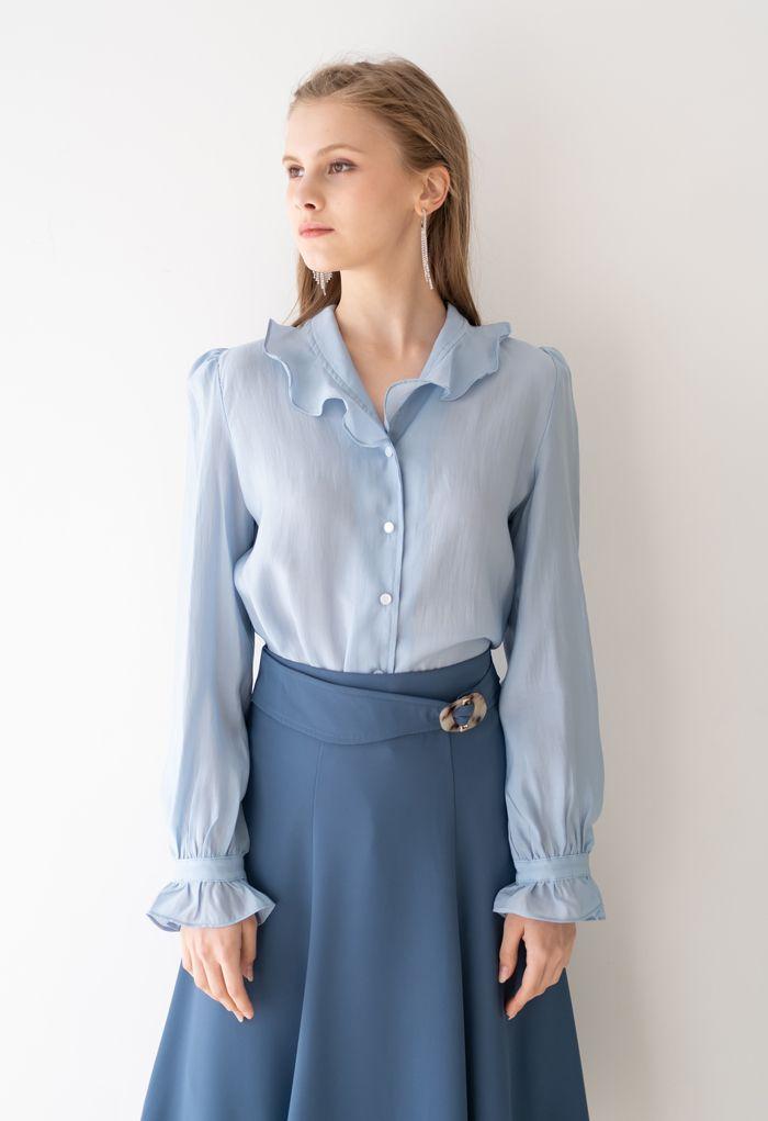 Semi-Sheer Ruffle Button Down Shirt in Blue