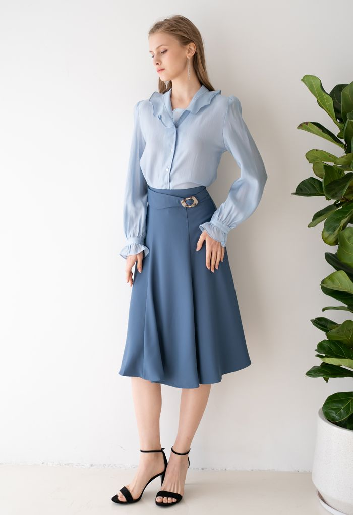 Marble Buckle Belted Flare Midi Skirt in Blue
