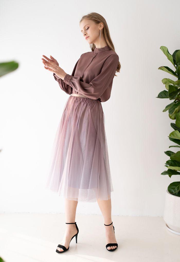 Gradient Glittery Velvet Mesh Midi Skirt in Taupe
