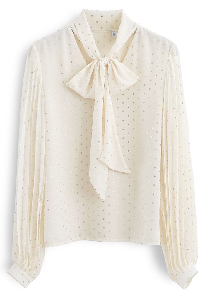Glitter Dots Pleated Sleeves Bowknot Top