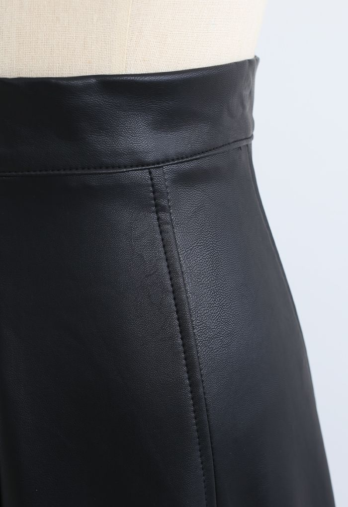 Soft Faux Leather Seamed A-Line Skirt in Black