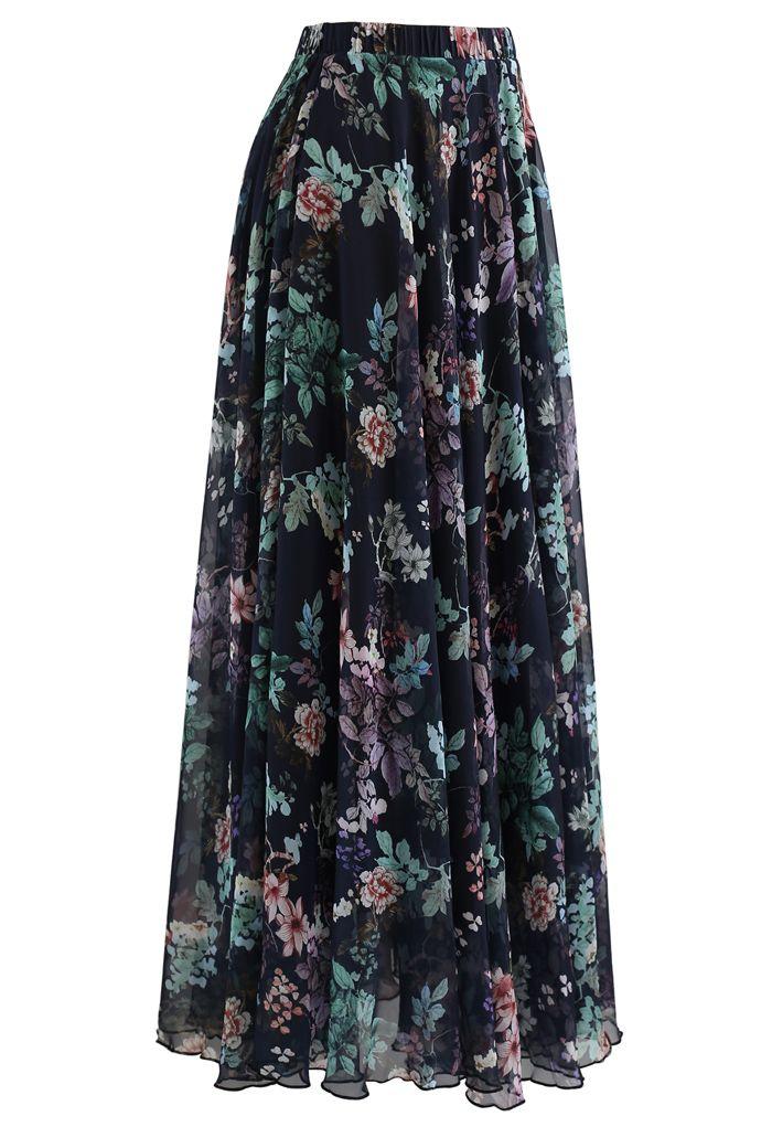 Exuberant Floral Chiffon Maxi Skirt in Navy