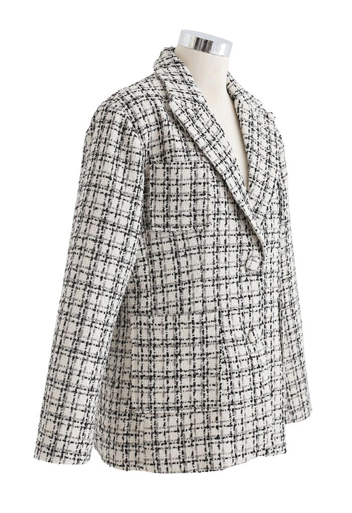 Patched Pockets Tweed Check Blazer in Cream