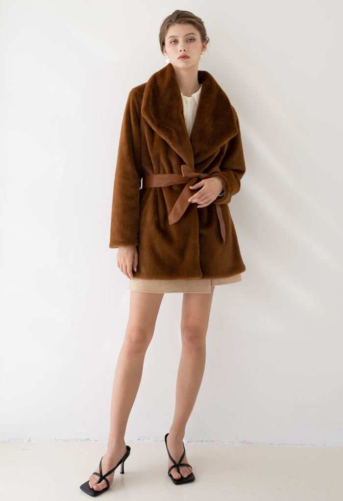 Faux Fur PU Leather Belted Coat in Brown