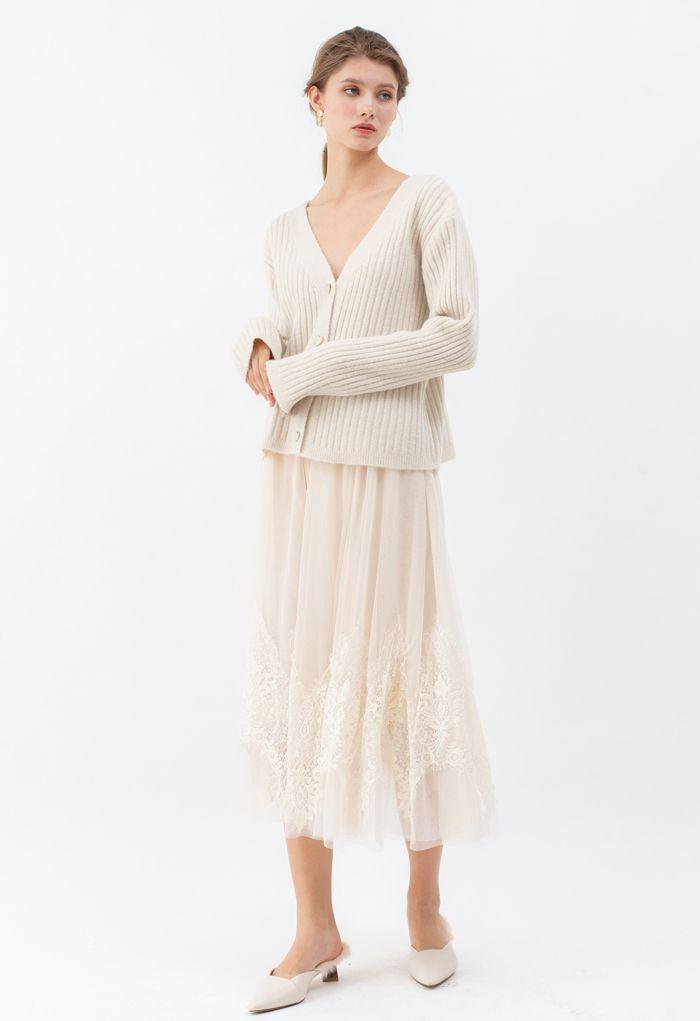 Cozy V-Neck Ribbed Knit Cardigan in Cream
