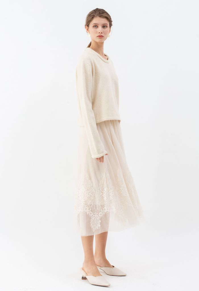 Shiny Pearly Round Neck Fluffy Knit Sweater in Cream