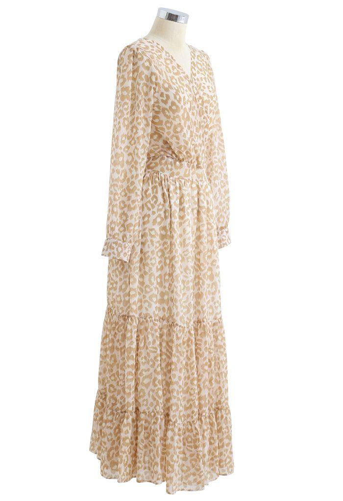 Lightsome Leopard Printed Ruffle Wrapped Maxi Dress