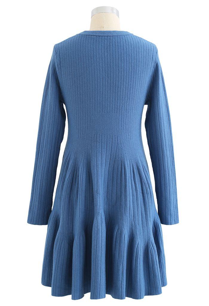 Frilling Hem Round Neck Knit Dress in Blue