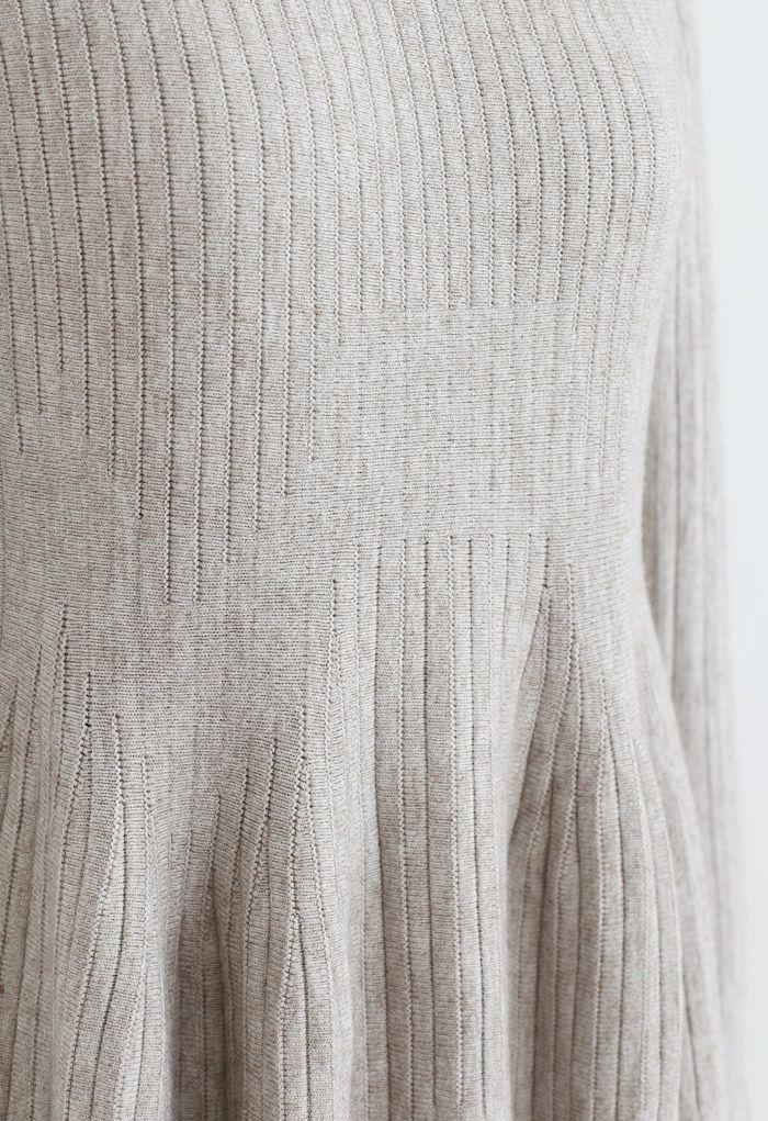 Frilling Hem Round Neck Knit Dress in Sand