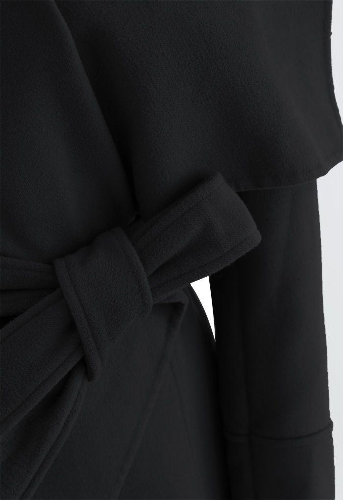 Wide Lapel Tie Belt Wrapped Wool-Blend Coat in Black