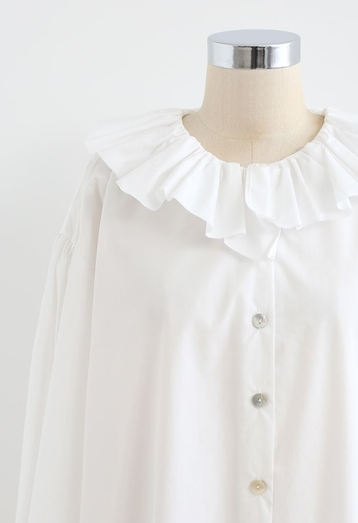 Ruffle Neck Button Down Loose Shirt in White