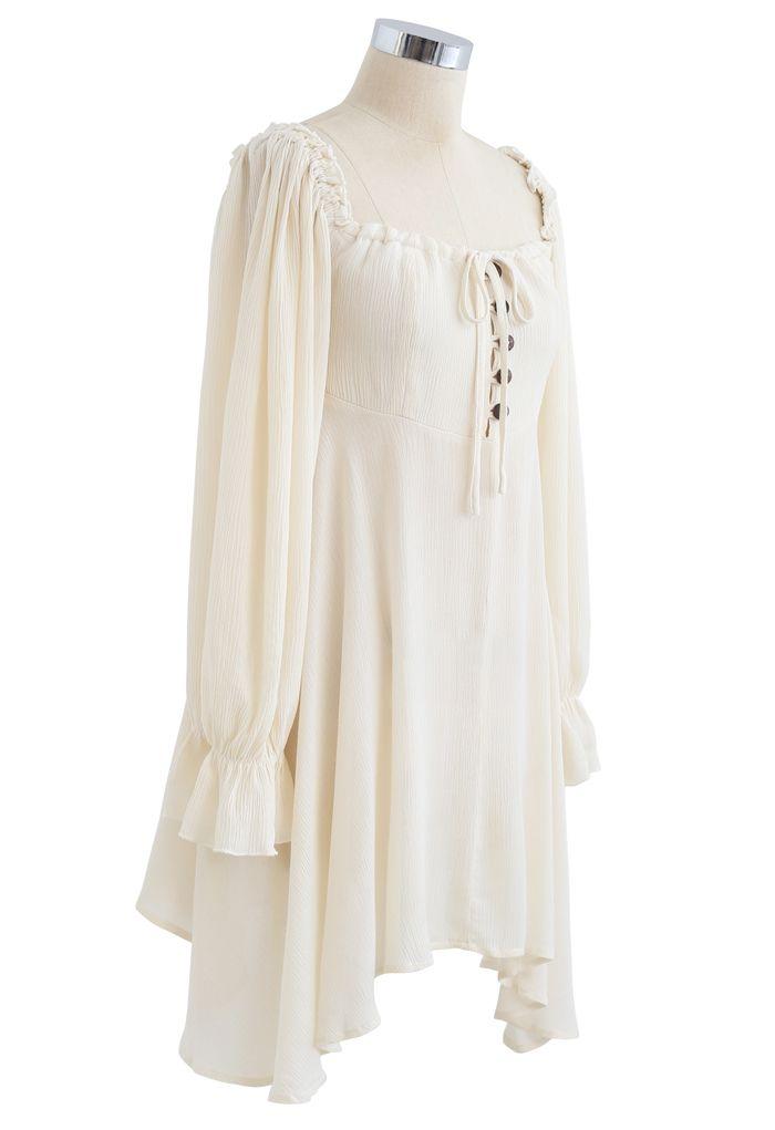 Square Neck Buttoned Asymmetric Mini Dress in Ivory