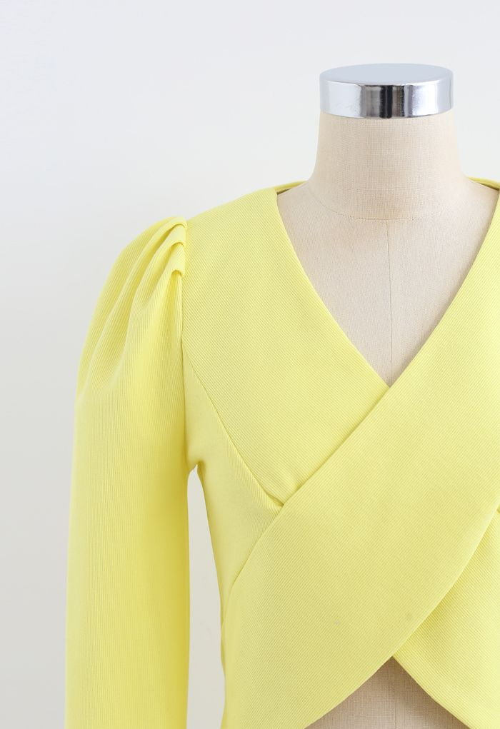 Crisscross Long Sleeves Crop Top in Yellow