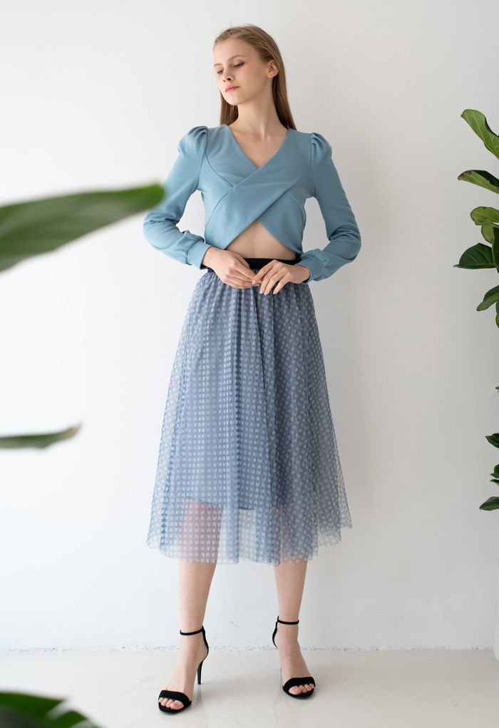 Crisscross Long Sleeves Crop Top in Blue