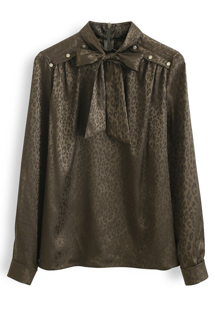 Leopard Print Buttoned Bowknot Top in Brown