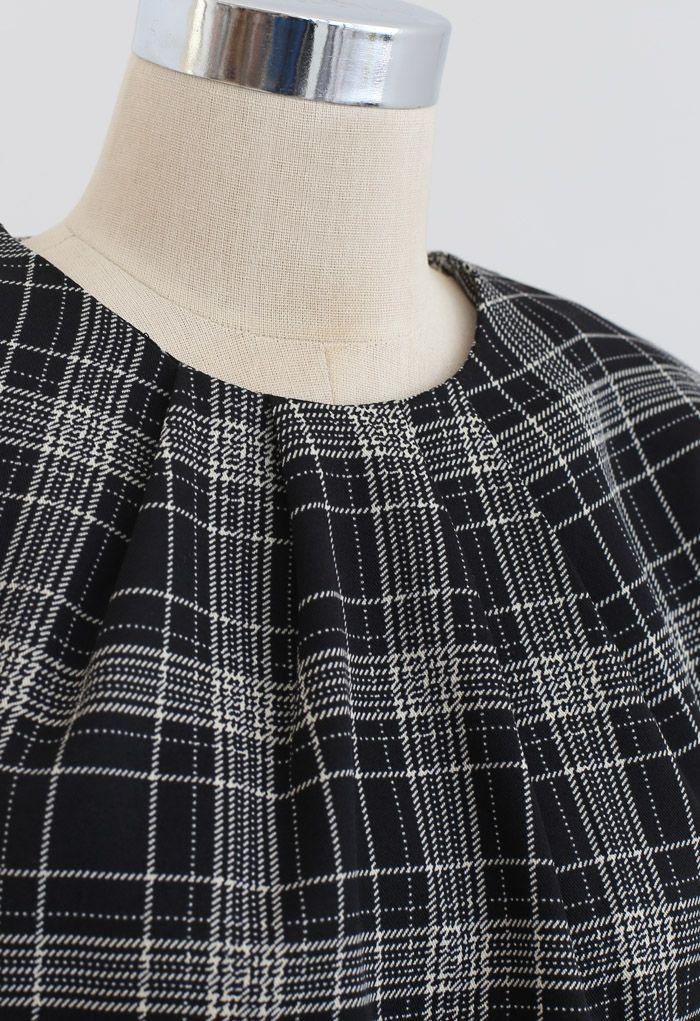 Padded Shoulder Plaid Cropped Mock Top in Black