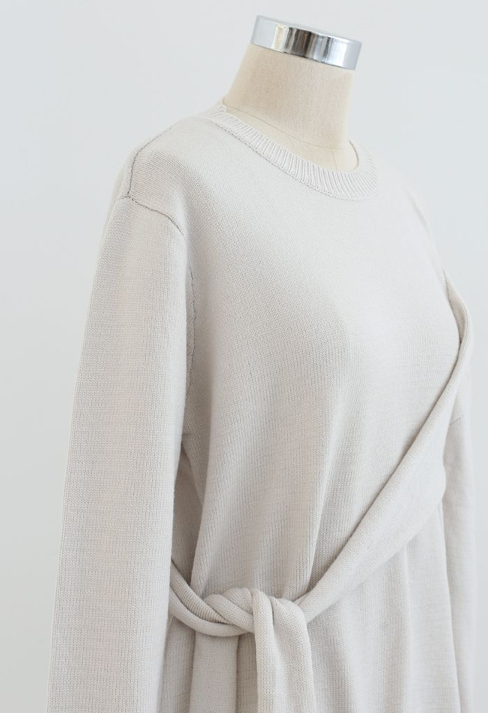 One-Shoulder Knit Sweater in Ivory