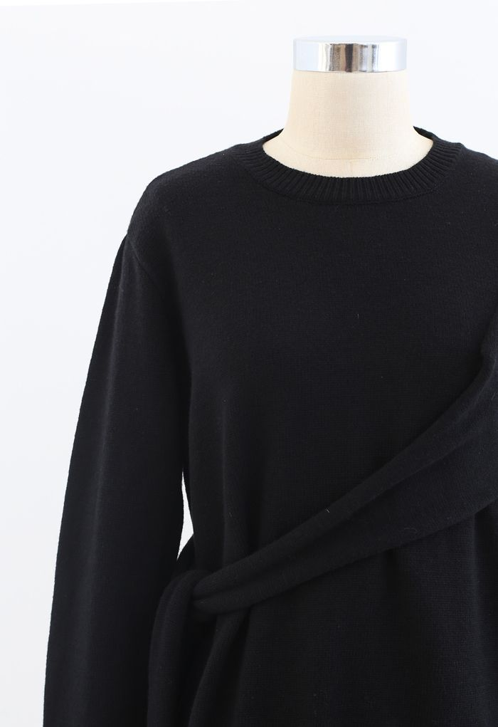 One-Shoulder Knit Sweater in Black