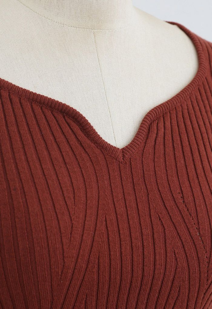 Square Neck Crop Fitted Rib Knit Top in Rust Red