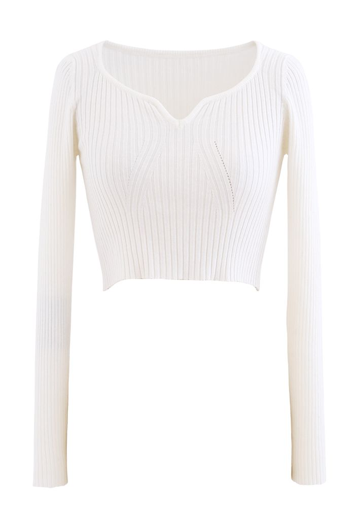 Square Neck Crop Fitted Rib Knit Top in White