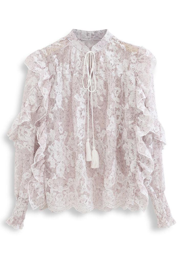 Tassel V-Neck Embroidered Ruffle Organza Top in Lilac