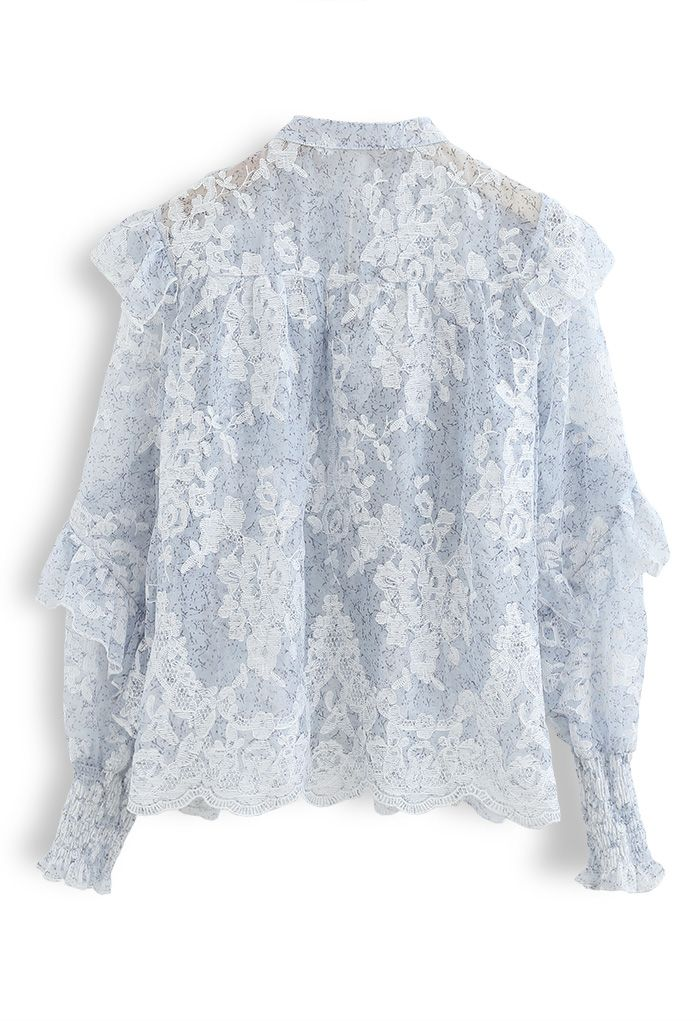 Tassel V-Neck Embroidered Ruffle Organza Top in Blue
