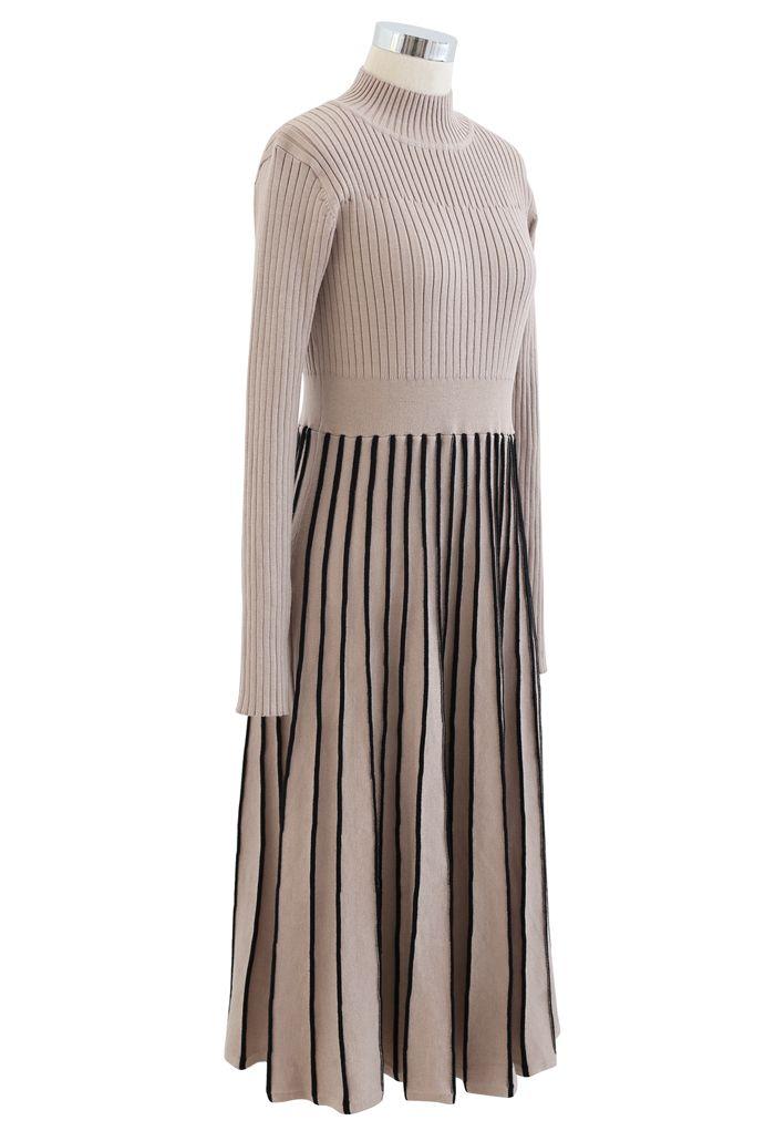 Contrast Lines Fitted Rib Knit Midi Dress in Tan