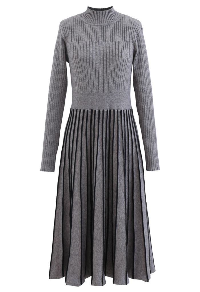 Contrast Lines Fitted Rib Knit Midi Dress in Grey