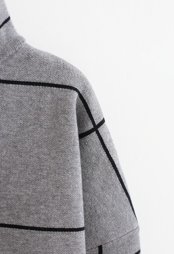 Grid Turtleneck Sweater in Grey