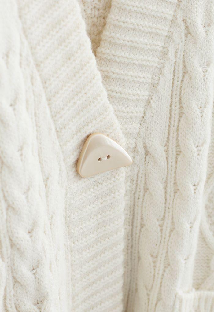 Irregular Button Pocket Braid Cardigan in Ivory