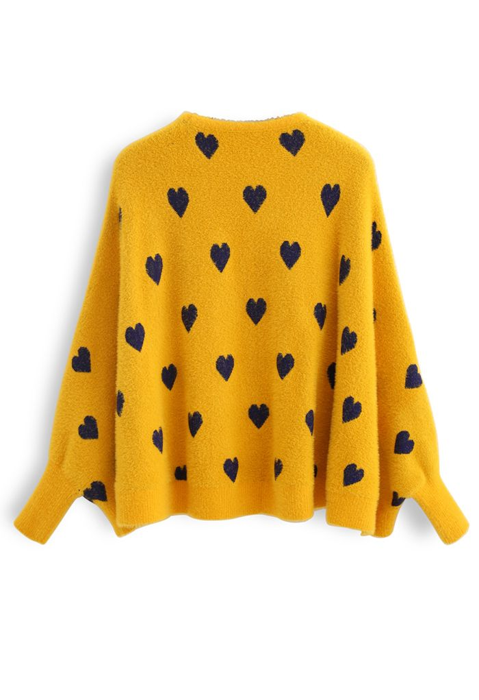 Batwing Sleeves Heart Fluffy Knit Sweater in Mustard