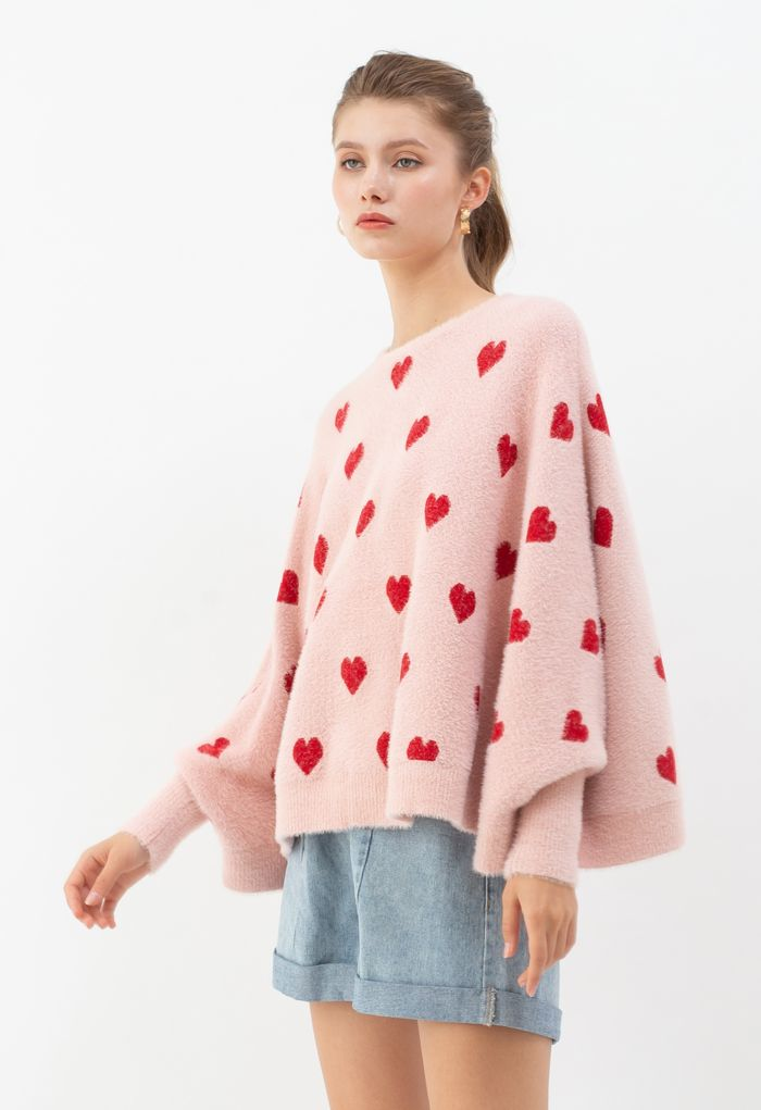 Batwing Sleeves Heart Fluffy Knit Sweater in Pink